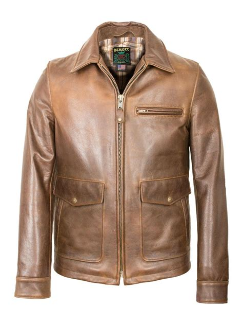 schott nyc burnished leather delivery jacket  brown