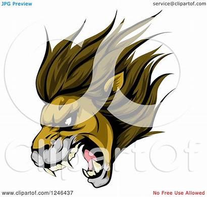 Lion Mascot Roaring Head Illustration Clipart Aggressive