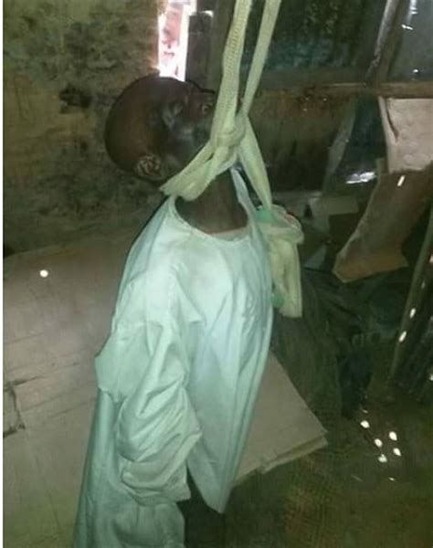 hanging photos frustrated elderly man commits suicide by hanging in gombe photos
