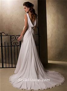 slim a line sheath empire waist chiffon crystal wedding With cowl back wedding dress
