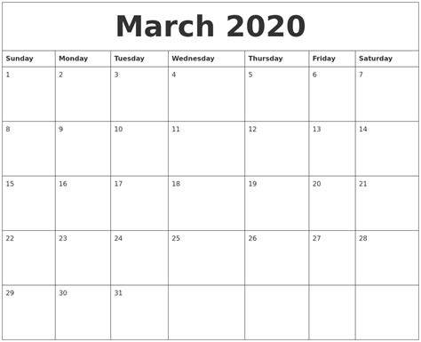 march print monthly calendar
