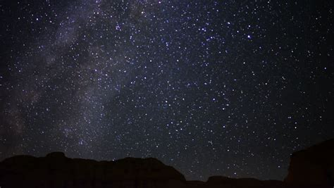 Star Time Lapse, Milky Way Galaxy Moving Across The Night