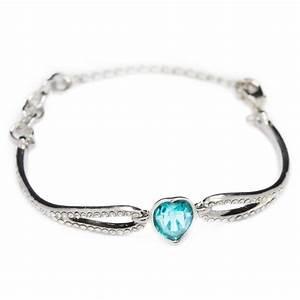 bracelet en argent pour femme avec coeur bleu With bijoux discount