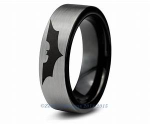 Batman tungsten wedding band ring mens womens brushed pipe for Mens batman wedding ring