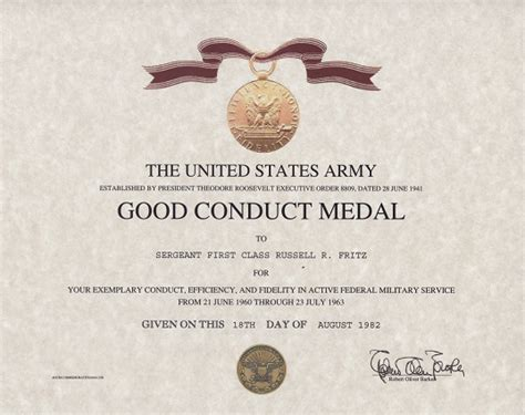 Good Conduct Form by Army Good Conduct Medal Certificate