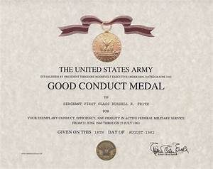 Army good conduct medal certificate for Army good conduct medal certificate template