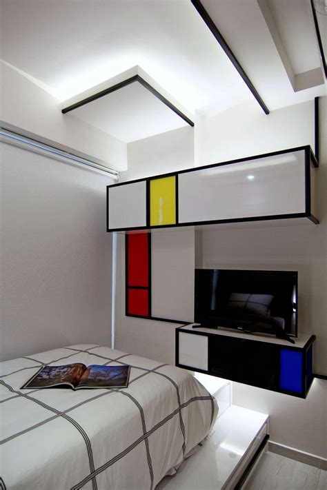 rejuvenated singapore home inspired  piet mondrian