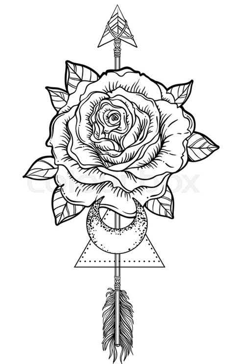 Blackwork tattoo flash. Rose flower, arrow and moon. Highly detailed vector illustration