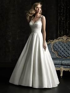 simple a line v neck taffeta beaded wedding dress with With v neck a line wedding dress