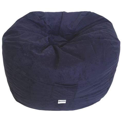 contemporary faux suede bean bag chair navy