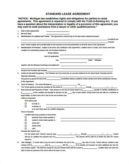 8+ Sample Standard Lease Agreements  Sample Templates