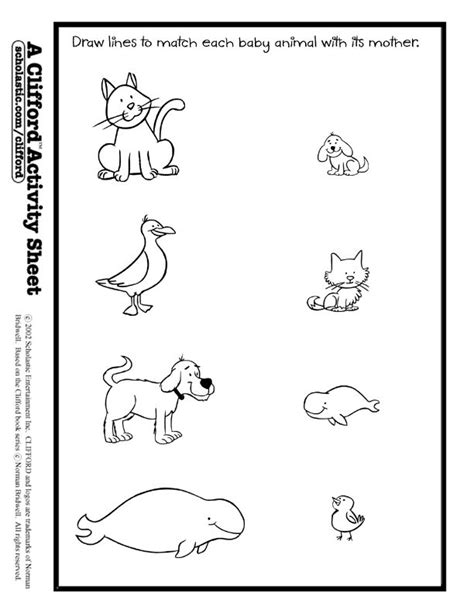baby animals match activity sheet animals theme misc