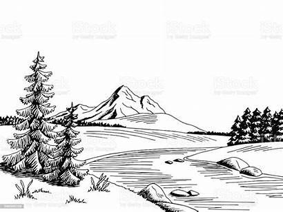 River Mountain Landscape Clipart Sketch Graphic Cartoon