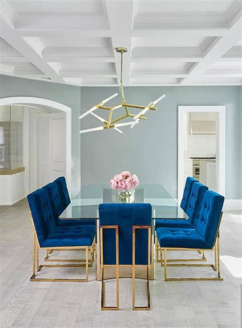 blue dining room table sapphire blue velvet tufted dining chairs contemporary