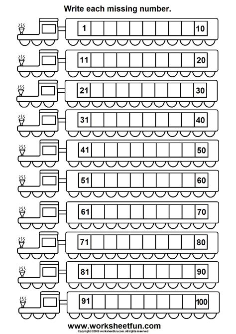 missing numbers 1 100 6 worksheets printable