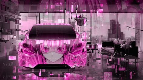 tesla roadster frontup super anime girl aerography neural