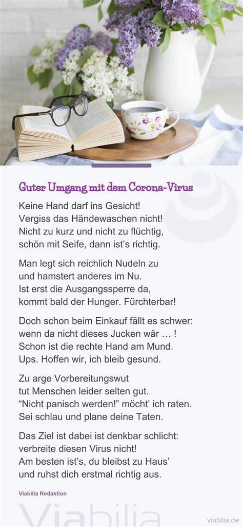umgang mit dem corona virus als gedicht corona virus