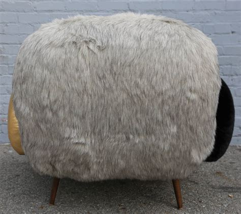 custom faux fur and leather lounge chair for sale at 1stdibs