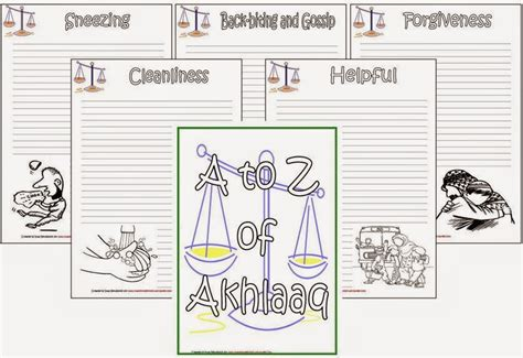 iman s home school a to z of adaab akhlaaq notebook pages