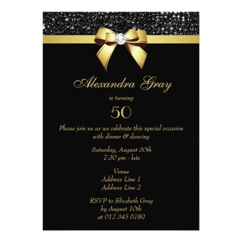Any Age Birthday Faux Sequins Bow Black Gold Invitation