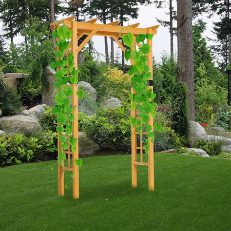 Outdoor Arbor by 7ft Premium Fir Wooden Garden Arbor Arch Trellis Wood Yard