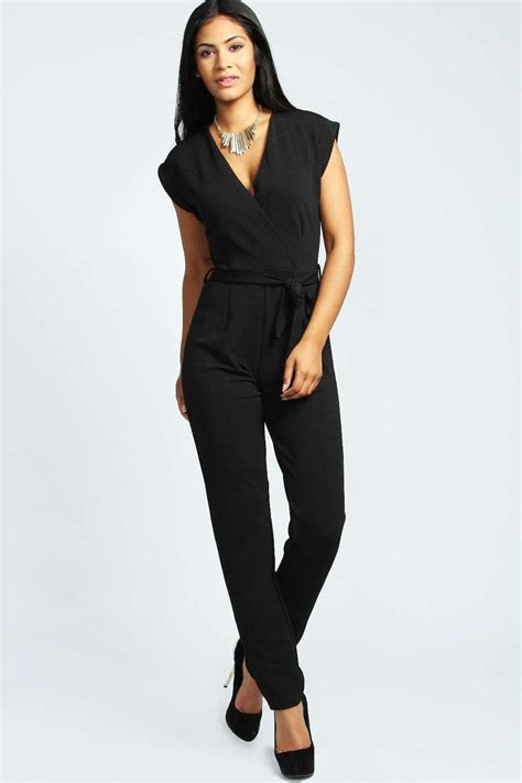 wrap jumpsuit boohoo womens millie wrap jumpsuit ebay