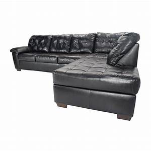 51 off bobs furniture black faux leather sectional sofas for Small spaces sectional sofa black faux leather