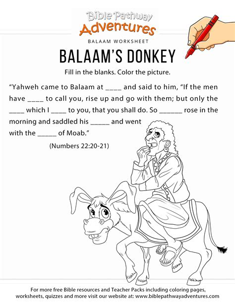 Balaam And His Donkey Coloring Page Wwwtopsimagescom