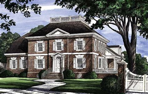 brick faced georgian home plan wp st floor
