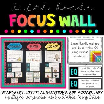 grade focus wall bundle  ashleigh teachers pay