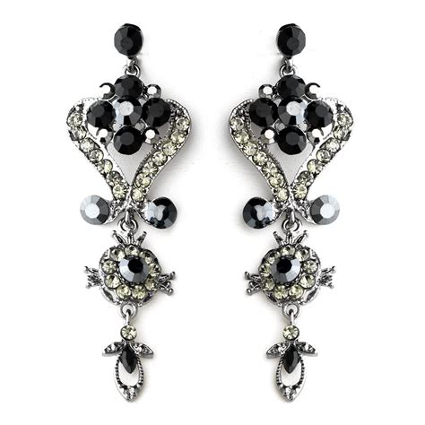 black onyx chandelier earrings for prom mis