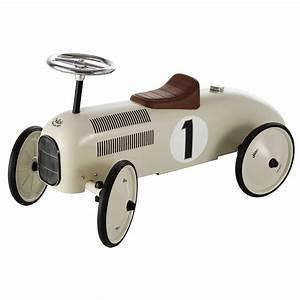 Retro Bebe Voiture : porteur voiture en m tal blanc cr me l 76 cm vintage ~ Teatrodelosmanantiales.com Idées de Décoration