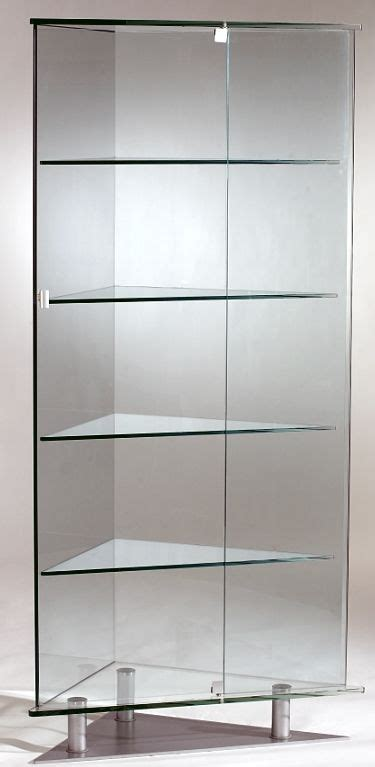glass triangular curio  cur curio cabinets