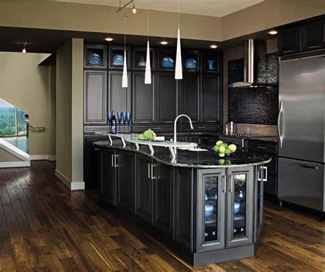 white cabinets  black kitchen island decora