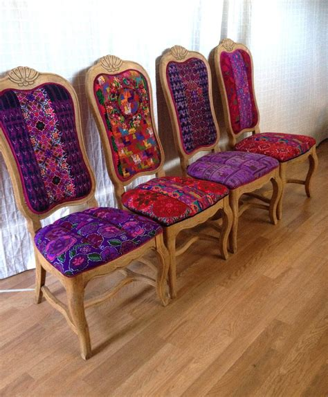 folk project features chairs  mexican textiles  huipil colorful furniture mexican
