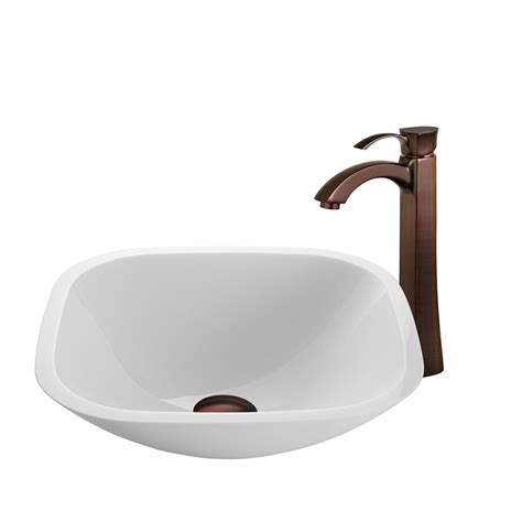 cheap sinks for kitchen shop vigo vessel sink faucet set white glass vessel