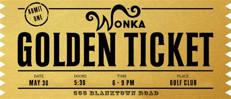 Blank Golden Ticket Template by Golden Ticket Templates Find Word Templates