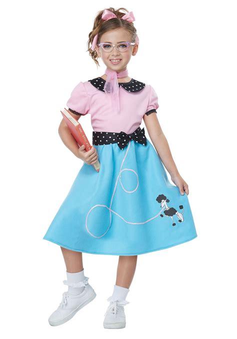 Blue 50u0026#39;s Sock Hop Dress Costume for Girls