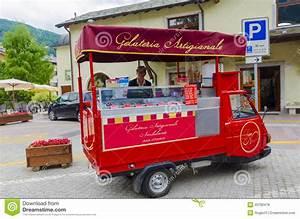 Mobile Shop Seller Of Italian Fruit Ice Cream Editorial ...