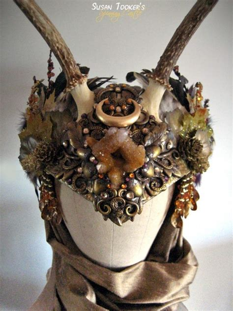fantasy autumn crystals headdress silk crown pagan elven
