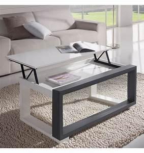 Plateau Deco Design : table basse relevable plateau blanc et cadre gris deco et saveurs ~ Teatrodelosmanantiales.com Idées de Décoration