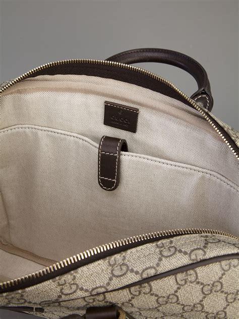 gucci monogrammed laptop bag  natural  men lyst