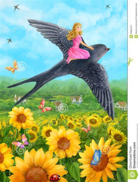 thumbelina  swallow stock illustration illustration  flora