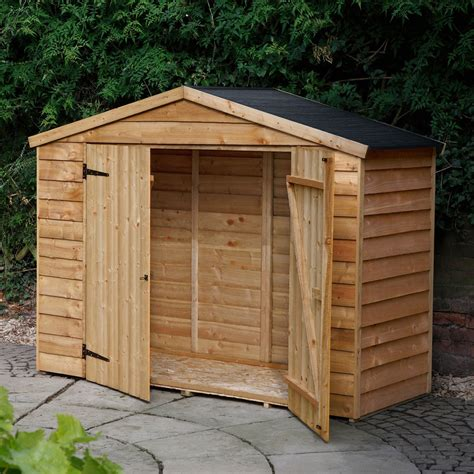 shed b and q overlap apex wooden bike store easy fit roof 7x3