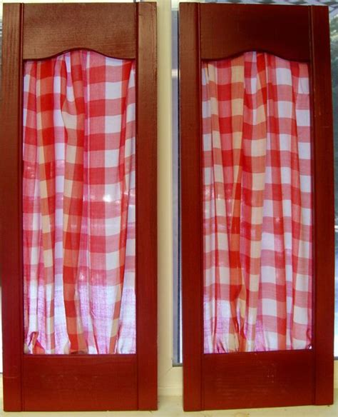 gingham kitchen accessories 6 vintage shutter panels with gingham fabric 1217