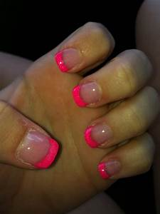 Neon Pink Solar French Tips | Nails | Pinterest