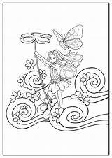 Fairy Coloring Adults Simple Childhood Flowers Printable Butterfly Adult Children Return Reef Coral Precious Moments Ariel Mermaid Coloriage Justcolor sketch template