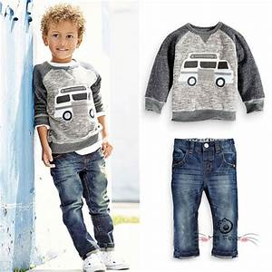 Fall Winter Baby Boys Denim Sets Clothes Kid Car Cartoon Sweat T Shirts+Jeans Trousers Track ...