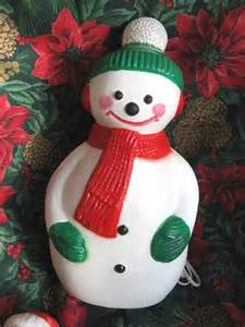 vintage blow mold illuminated snowman christmas decoration