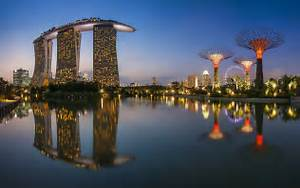 singapore, city, tower, civilized, evening, reflection, hd